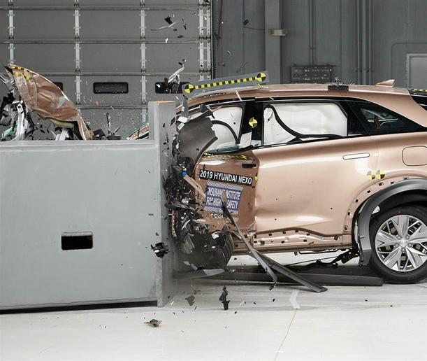 Hyundai's 2019 Nexo fuel cell SUV aced six crash tests.  - Photo courtesy of IIHS.
