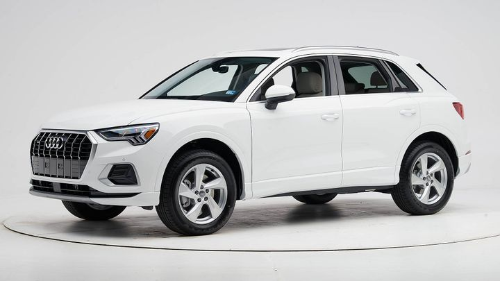 Audi's 2019 Q3 has earned a Top Safety Pick+ for its crashworthiness and optional LED headlights.  - Photo courtesy of IIHS.