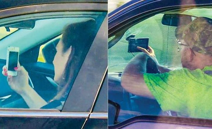 Virginia drivers manipulating cellphones increased 57% over a four-year period studied by IIHS.  - Photo courtesy of IIHS.
