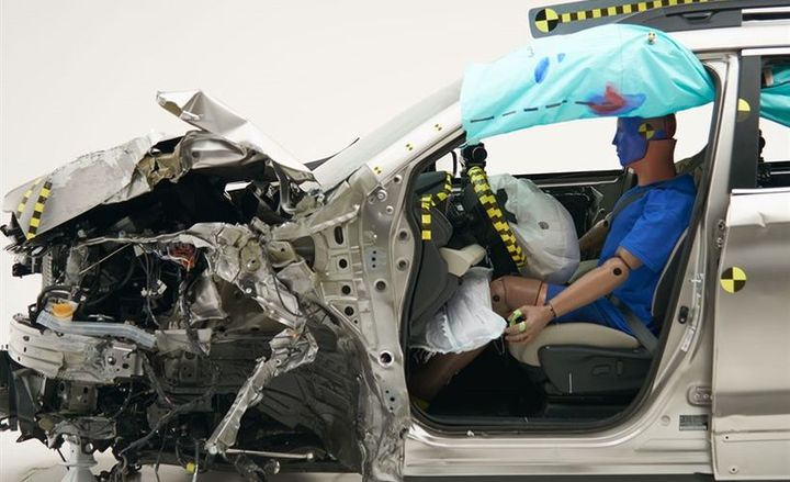 The 2019 Subaru Ascent (shown) was one of the top-performing vehicles in crash testing that included the small front overlap test.  - Photo courtesy of IIHS.