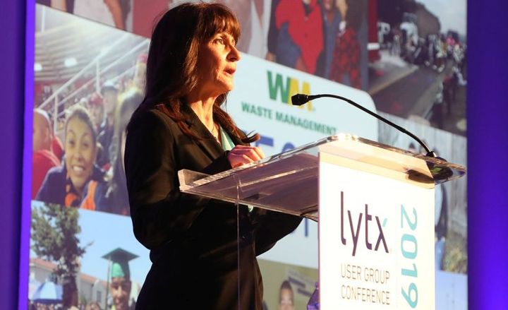 Heidi Jenkins, founder of The Erich Jenkins Change-A-Life Foundation, speaks at the the 2019 Lytx users conference.
