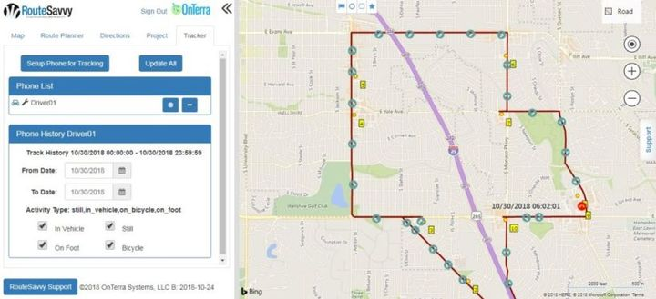 OnTerra Systems's RouteSavvy Tracker mobile app displays driver location and history.