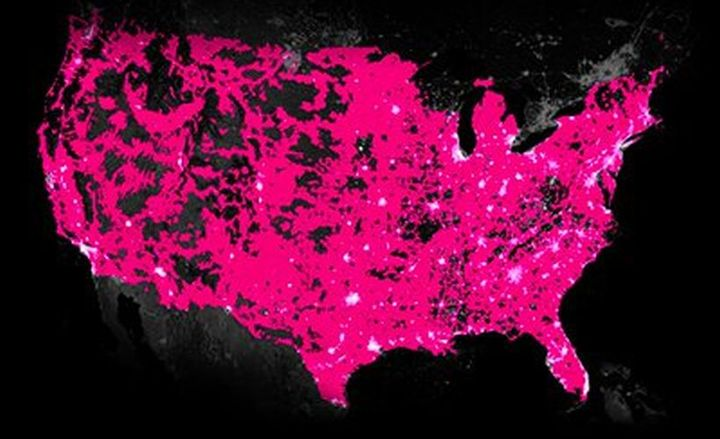 T-Mobile is hoping to build out its own 5G network if its pending Sprint merger is approved as the next generation from its 4G LTE network (coverage map shown).