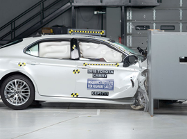 Photo of 2018 Toyota Camry crash test courtesy of IIHS.