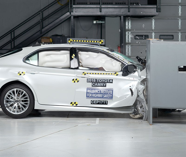 Photo of 2018 Toyota Camry crash test courtesy of IIHS.