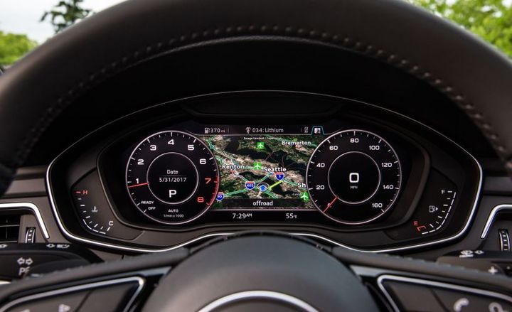 Digital instrumentation such as Audi's Virtual Cockpit (shown on 2018 A5 Sportback) has become an increasingly offered technology option.