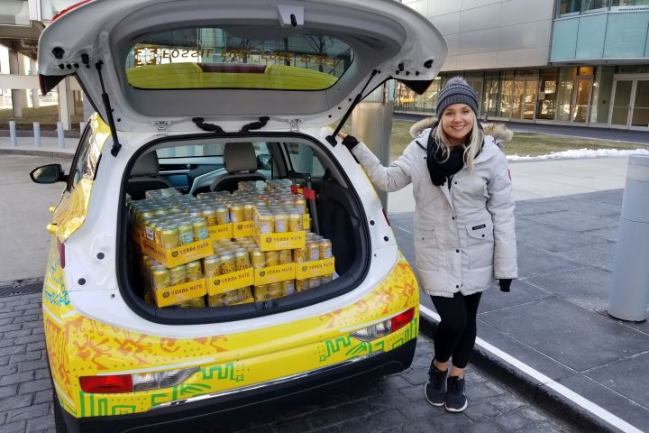 The Bolt EV Cargo can carry up to 600 pounds of payload, which equates to 125 cases of Yerba Mate's beverage.