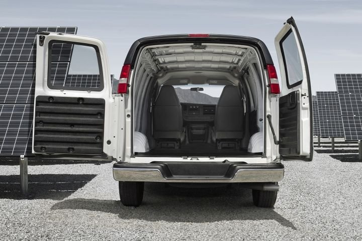 GM has recalled its 2016 to 2019 vans, including the Chevrolet Express (shown), for a possible rear window defect.