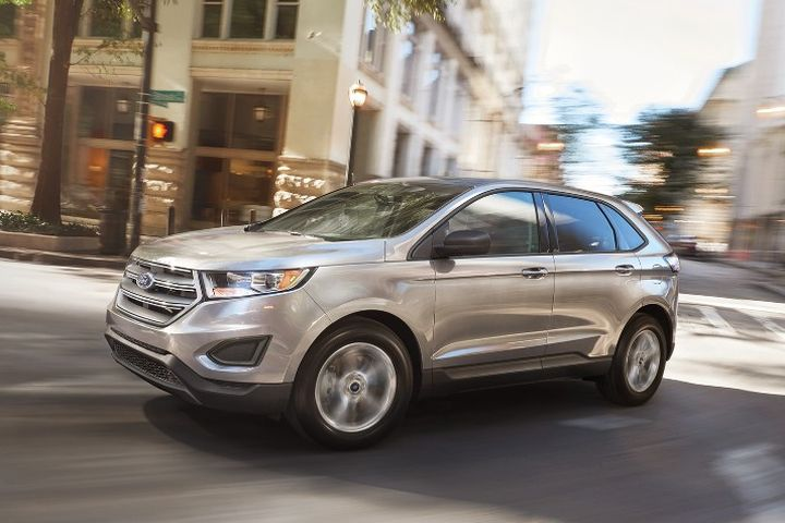 Ford is recalling its 2018 Ford Edge (shown) and Lincoln MKX midsize SUVs for a defect in the door striker bolts.