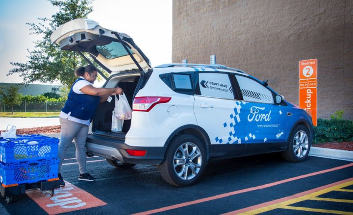 Walmart and Ford are testing an autonomous vehicle delivery program through Postmates to deliver groceries and other items.  - Photo courtesy of Ford.