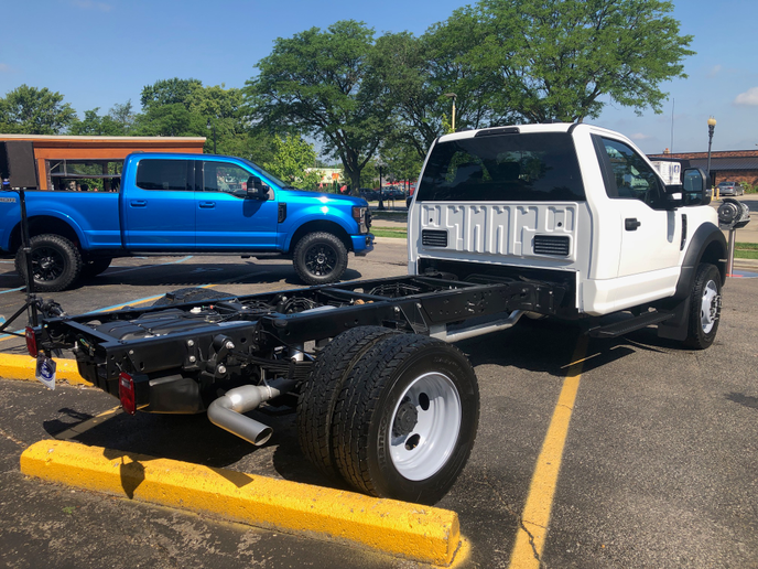 The F-600 chassis cab will offer standard PTO for buyers who opt for the 6.7L diesel engine.
