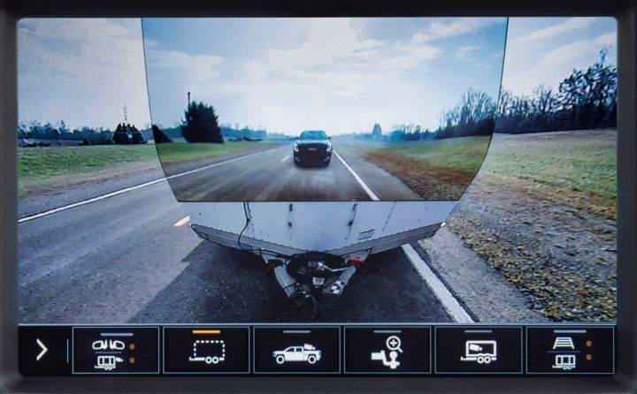 The 2020 GMC Sierra HD includes a new feature known as Transparent Trailer that allows drivers to see directly behind the load.