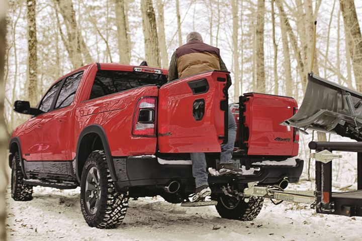 The 2019 Ram 1500 will offer the MultiFunction tailgate with dual side-hinge doors.