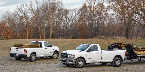 The 2019 Ram 2500 (left) and Ram 3500 will arrive in the second quarter with an array of...