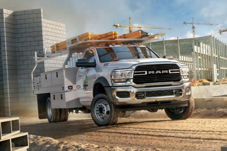 The 2019 Ram 3500, 4500 (shown in SLT grade), and 5500 chassis cabs receive heavy updates that...