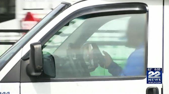 Screenshot of texting Massachusetts driver via WWLP.