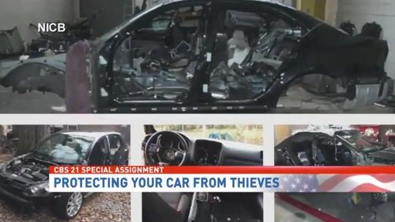 Screenshot of vehicle theft tips via NICB.