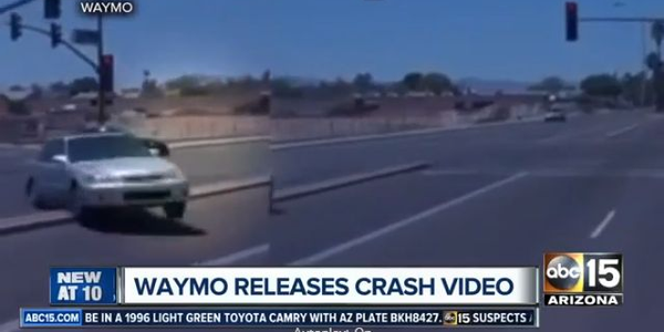 Screenshot from Waymo crash in Arizona via ABC15.