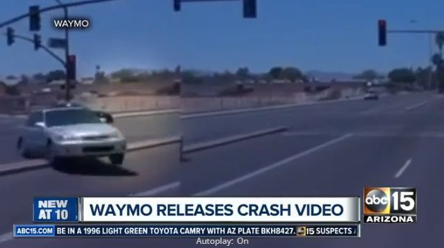 Screenshot from Waymo crash in Arizona via ABC15.