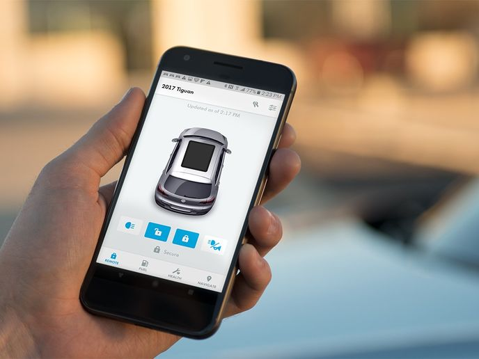Photo of Car-Net app courtesy of Volkswagen.