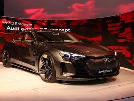 Audi displayed the e-tron GT concept vehicle, which made its world premiere in San Francisco in...