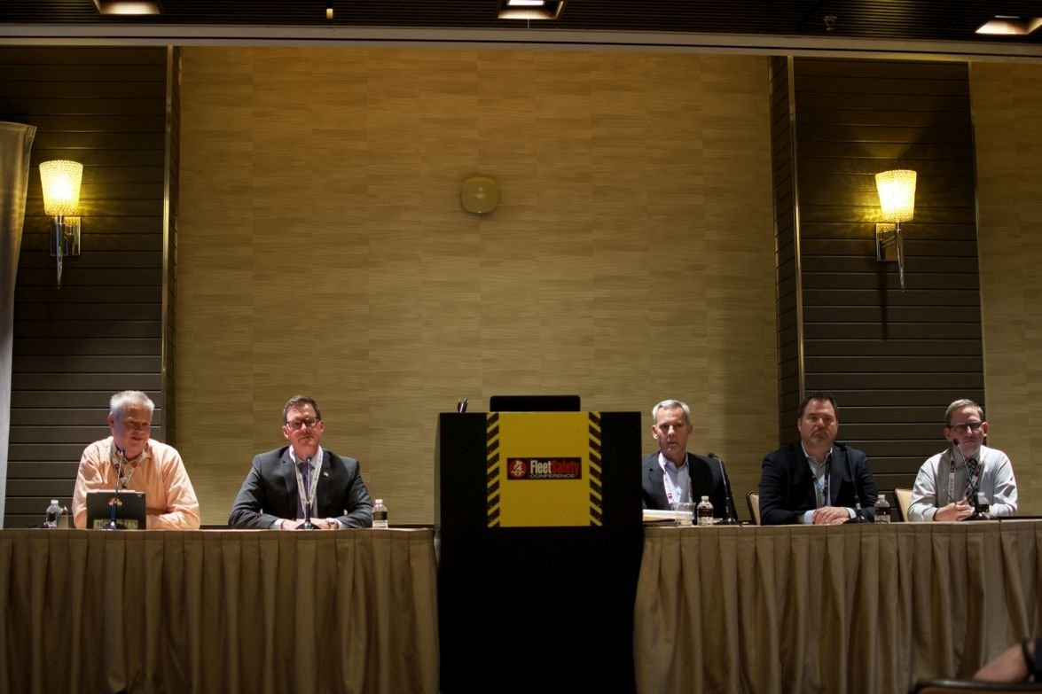 (l-r) Ken Evans of Konexial; Mike Ahart of Omnitracs, Dave Osiecki of Scopelitis Transportation...