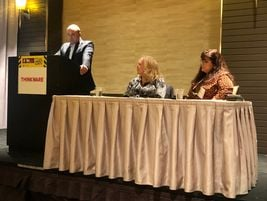 Brad Jacobs of Merchants Fleet, along with Sally Allen and Cindy Douglas of Tuff Shed presented...