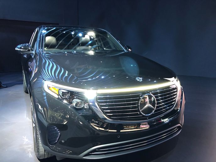 Here's a closer look at the Mercedes-Benz 2020 EQC, the first fully electric vehicle to carry a three-point star. - Photo by Chris Wolski.