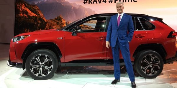 Jack Hollis, CEO of Toyota North America, unveils the2021 RAV4 Prime in Los Angeles.