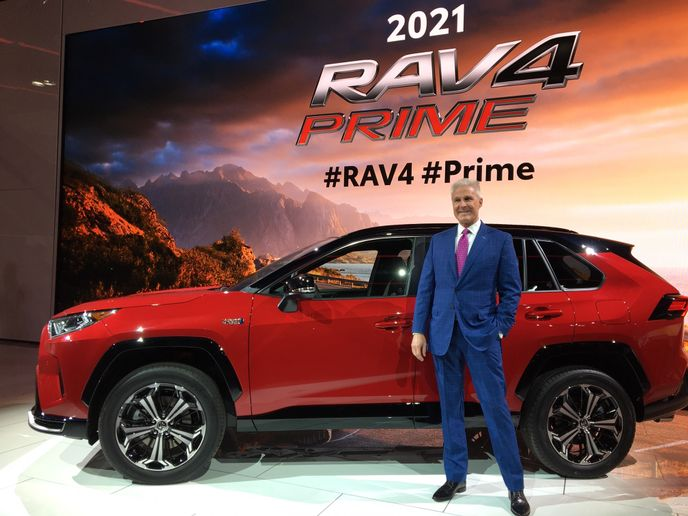 Jack Hollis, CEO of Toyota North America, unveils the 2021 RAV4 Prime in Los Angeles. - Photo by Chris Brown.