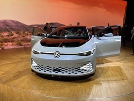 Volkswagen's IDSpace Vizzion electric wagon/crossover previews a production EV. In its...