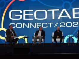 Mike Antich (left), editor, Automotive Fleet, also hosted a CEO fireside chat that featured...