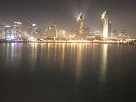 A view of San Diego from aboard the Hornblower boat cruise that was held the night before the...