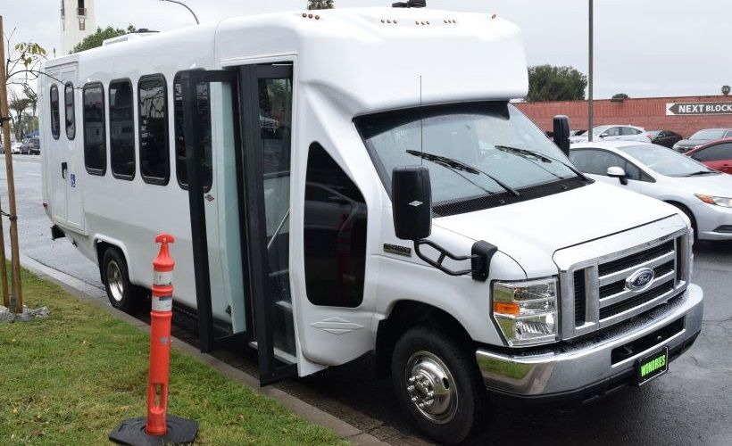 The battery-electric Ford E-450 Shuttle Bus was at the Alhambra event, and is available in...