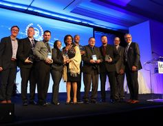 The winners of the Lytx annual Driver and Coach of the Year Awards pose for a group photo. The...