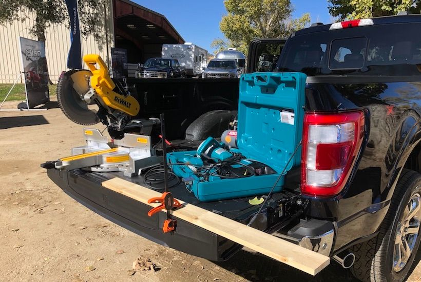 On the 2021 F-150. new clamp pockets are built into the tailgate of every truck, so customers...