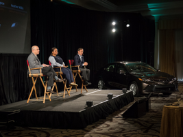 Toyota's Sandy Lobenstein, VP of connected strategy and product planning; Heather Willis-Hunter,...