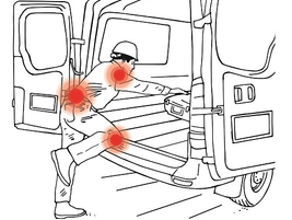 Stepping or crawling into a cargo van can cause musculoskeletal injuries since you end up...