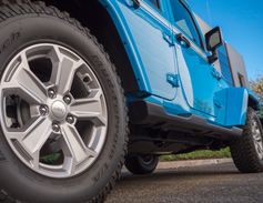 A closer look at the 17-inch high-gloss silver wheels.
