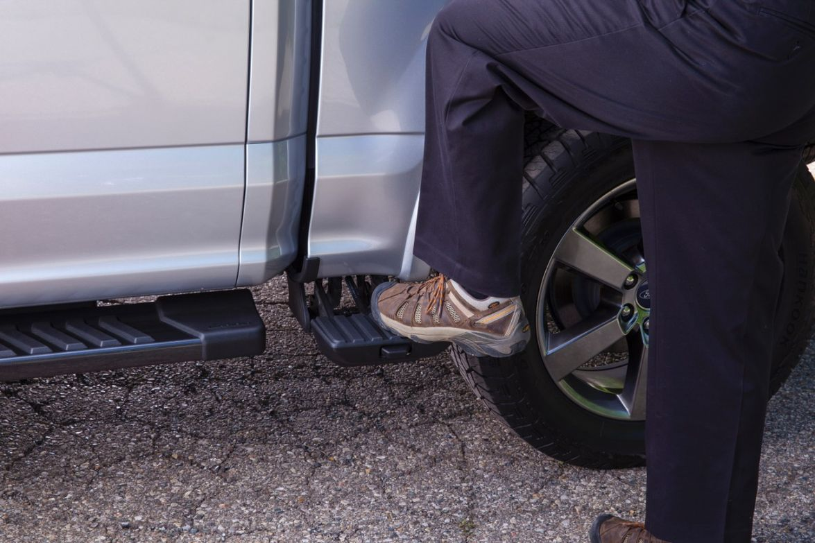 Large box step:Ford made sure there was enough surface area on the box step of F-150 for a...