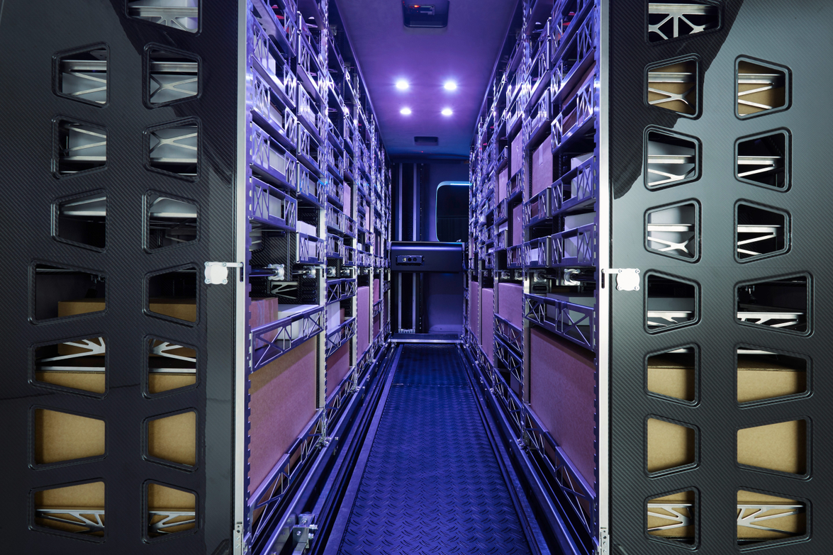 Super-light cargo racks can be configured to 46 different levels.