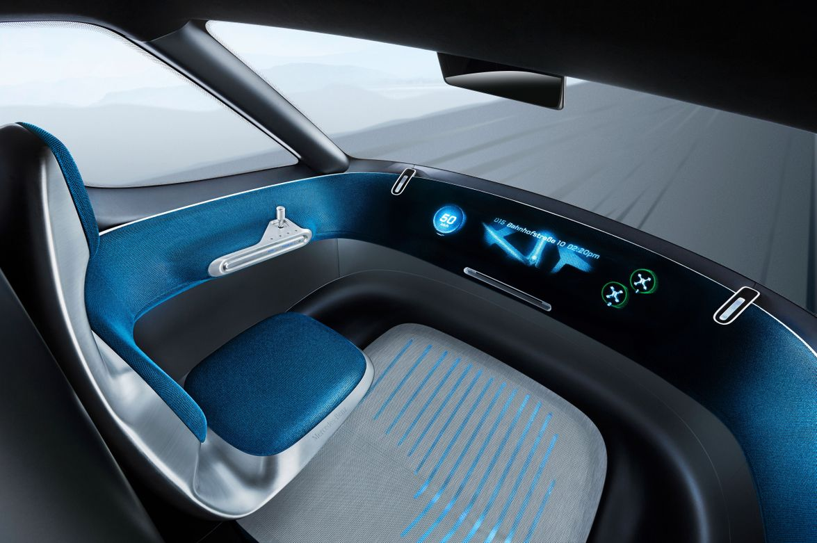 The dashboard consists of a wide, curved ring that displays relevant information to the driver.