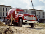 A 1962 Ford F-850  with concrete mixer.