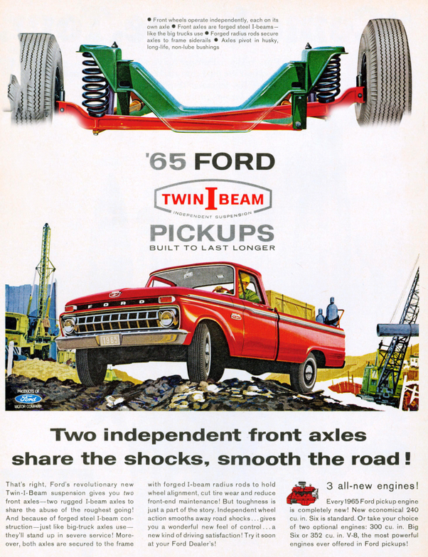 Advertisement for 1965 twin I-Beam suspension