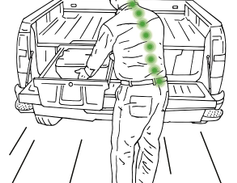 Vehicle storage units allow material to be presented at waist height in front of the worker,...