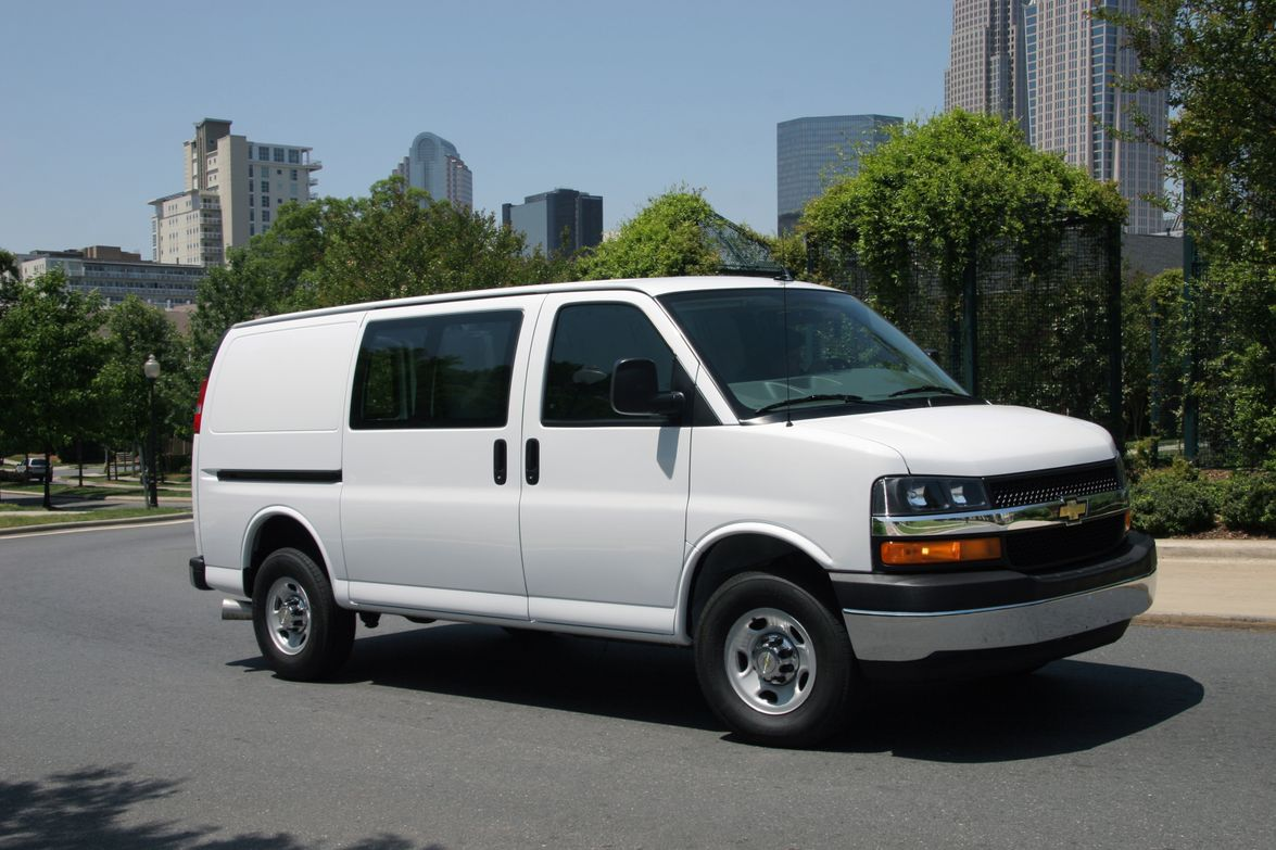 The new Chevrolet Express crew cargo van is available with fixed, full-body window package glass.