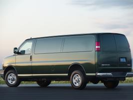 The 2014-MY GMC Savana 2500 cargo van with a 6.6L Duramax 6600 turbodiesel V-8 engine.