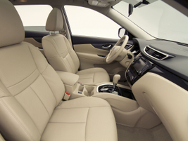 Nissan offers two interior colors, Almond and Charcoal, and leather-appointed seats as an option...