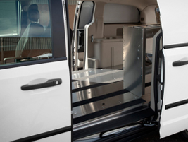 The C/V has a customizable cargo area for shelving and an aluminum load floor with anti-slip straps.