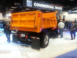 This F-750 appears at Ford's booth at the Work Truck Show with a dump truck body.